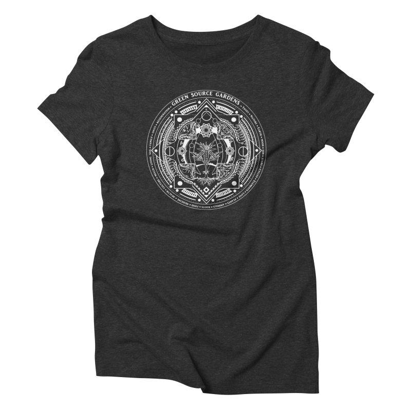 Canna Mandala (white ink) Women's Triblend T-Shirt by Green Source Gardens