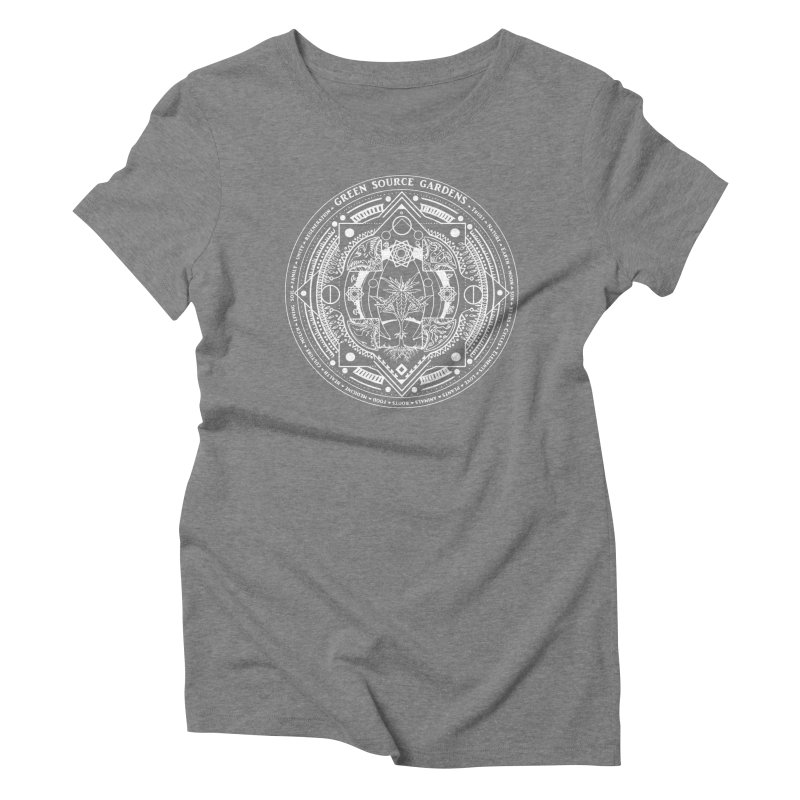 Canna Mandala (white ink) Women's Triblend T-Shirt by Green Source Gardens