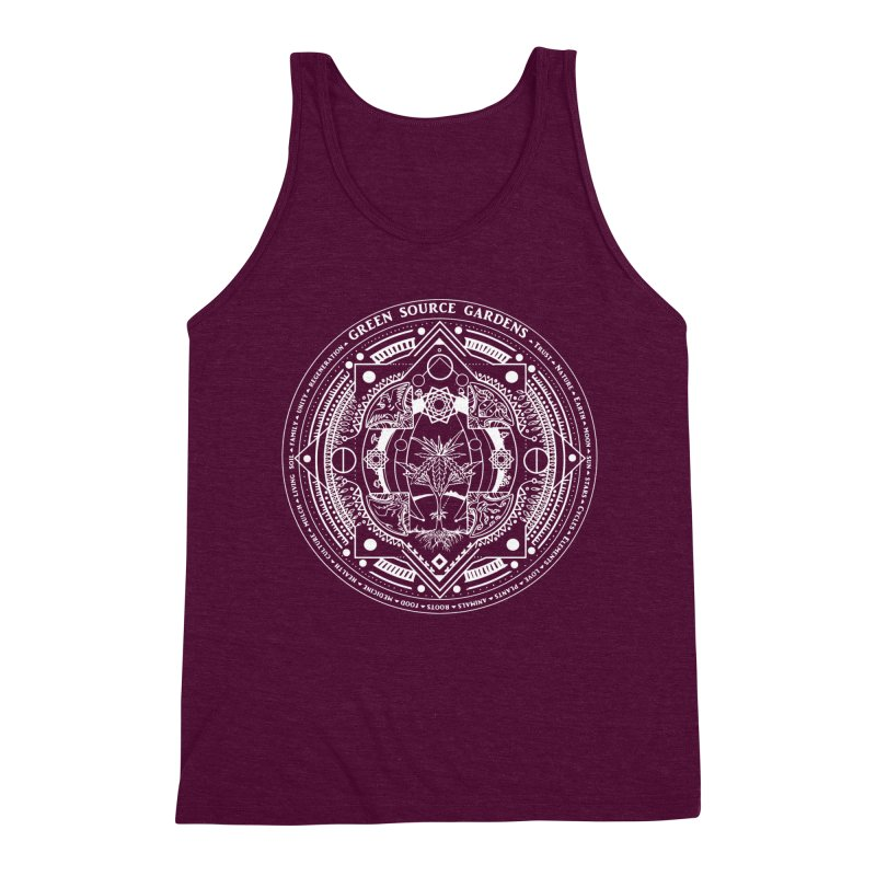 Canna Mandala (white ink) Men's Triblend Tank by Green Source Gardens
