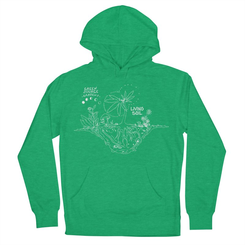 Living Soil (white ink) Men's French Terry Pullover Hoody by Green Source Gardens