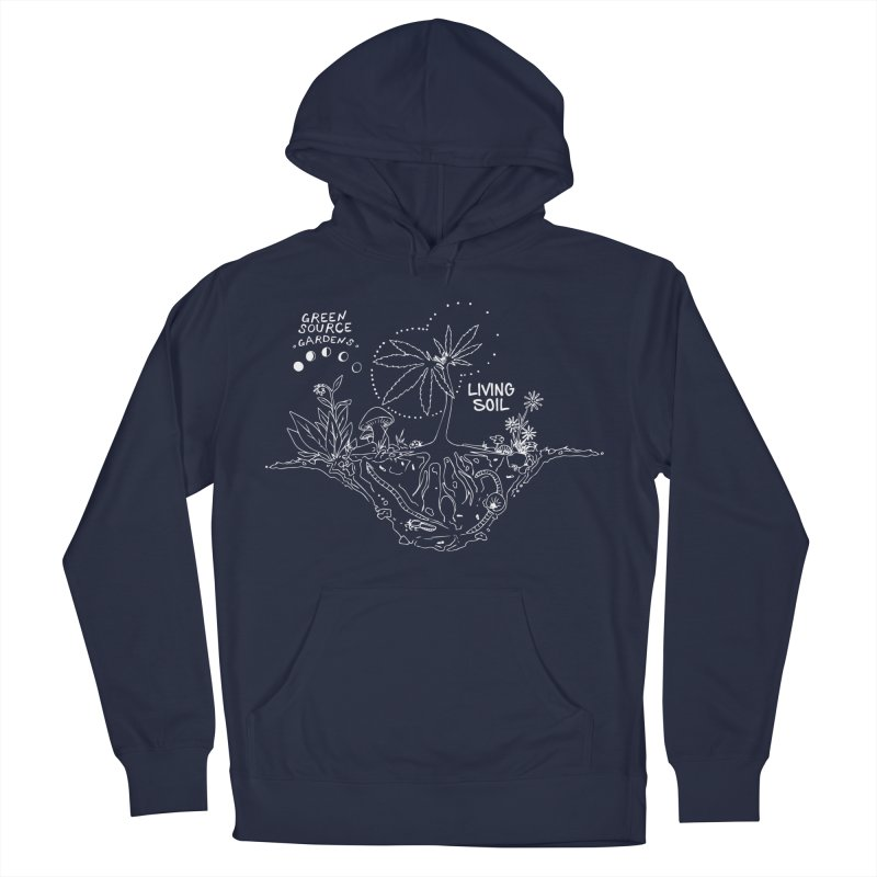Living Soil (white ink) Men's Pullover Hoody by Green Source Gardens