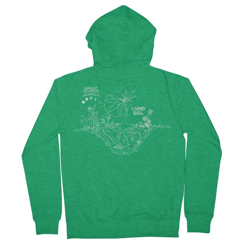 Living Soil (white ink) Men's Zip-Up Hoody by Green Source Gardens