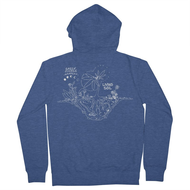 Living Soil (white ink) Men's French Terry Zip-Up Hoody by Green Source Gardens