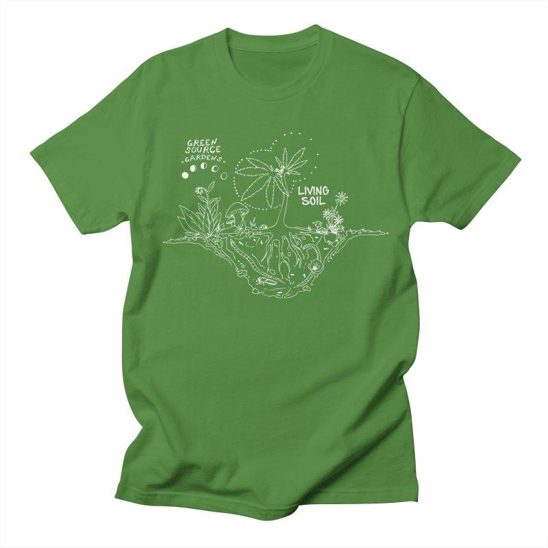 Living Soil (white ink) Men's Regular T-Shirt by Green Source Gardens