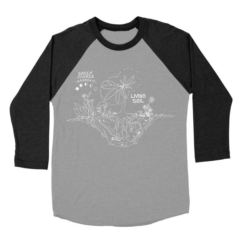Living Soil (white ink) Women's Baseball Triblend T-Shirt by Green Source Gardens