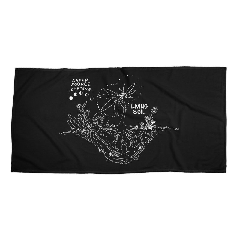 Living Soil (white ink) Accessories Beach Towel by Green Source Gardens