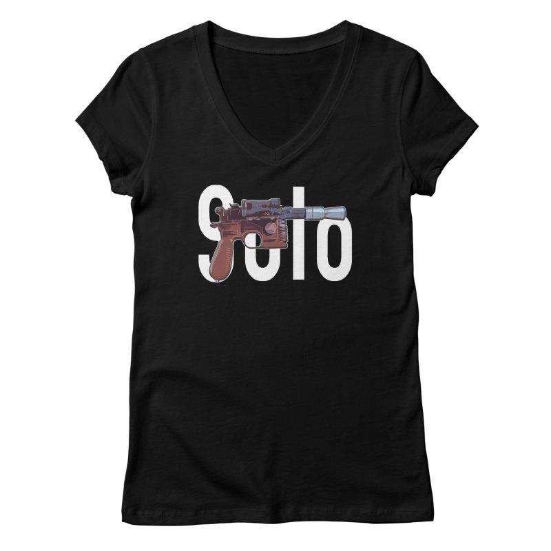 Solo Blaster Women's V-Neck by HIDENbehindAroc's Shop