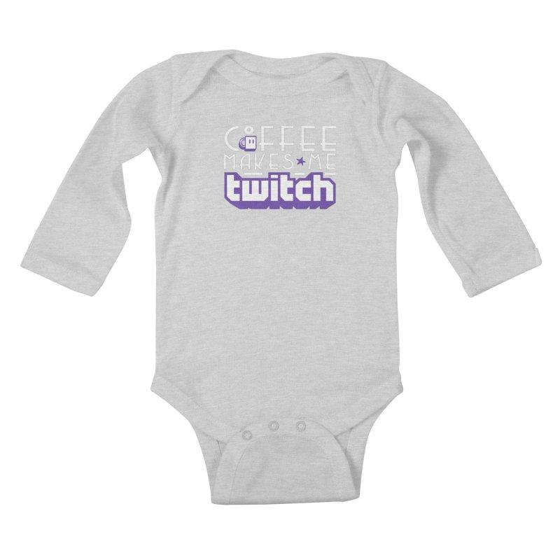 Coffee Makes Me Twitch Kids Baby Longsleeve Bodysuit by HIDENbehindAroc's Shop