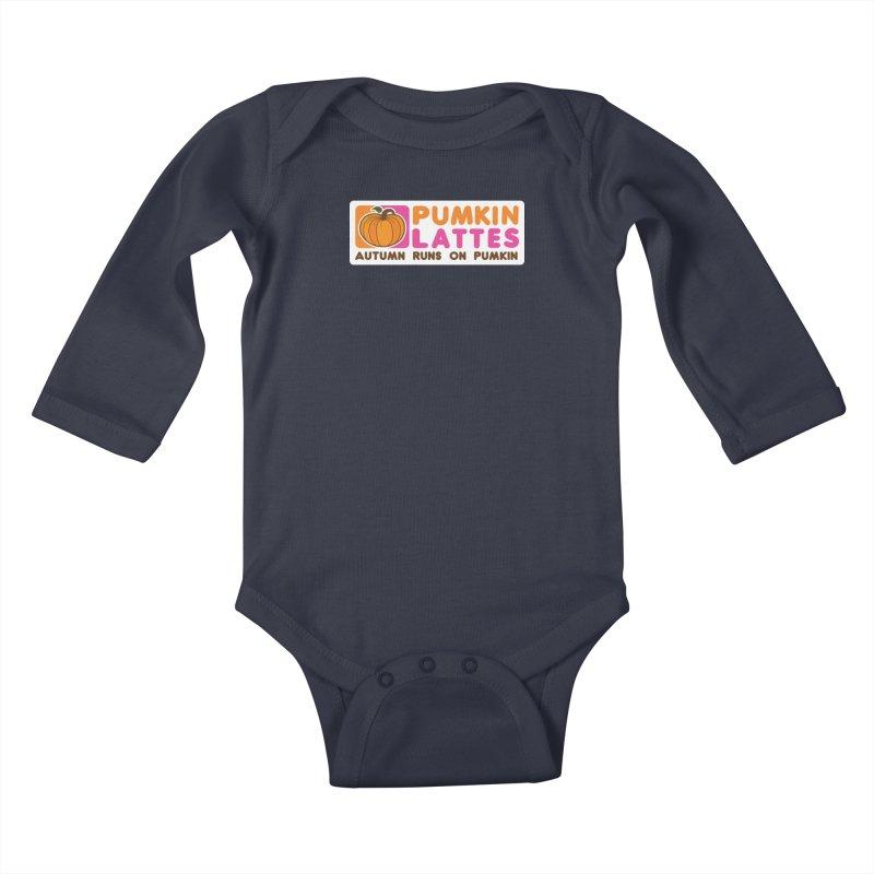 Pumpkin Lattes Kids Baby Longsleeve Bodysuit by HIDENbehindAroc's Shop
