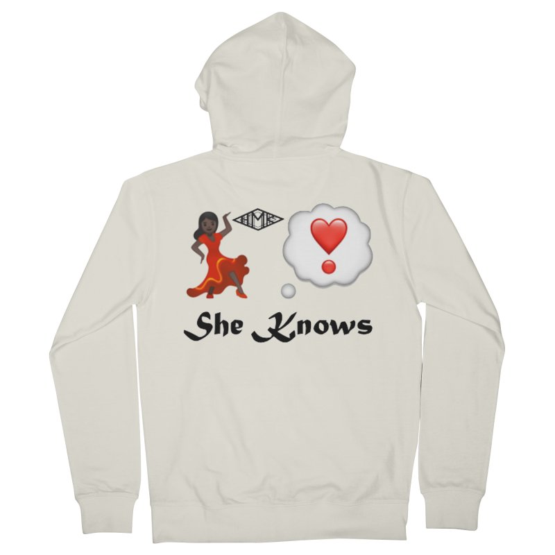 She Knows Men's French Terry Zip-Up Hoody by HMKALLDAY's Artist Shop