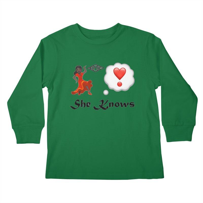 She Knows Kids Longsleeve T-Shirt by HMKALLDAY's Artist Shop