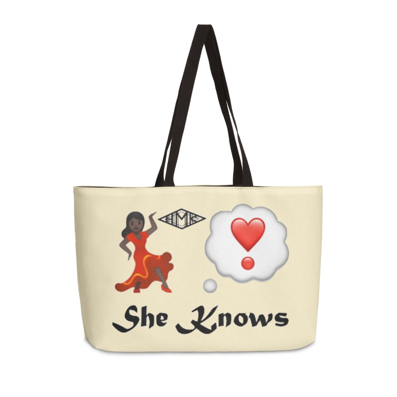 She Knows Accessories Weekender Bag Bag by HMKALLDAY's Artist Shop