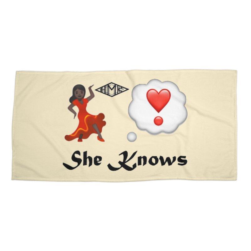 She Knows Accessories Beach Towel by HMKALLDAY's Artist Shop