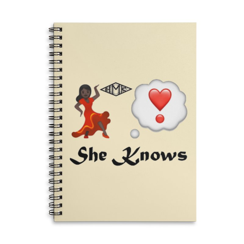 She Knows Accessories Lined Spiral Notebook by HMKALLDAY's Artist Shop