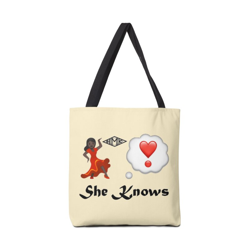 She Knows Accessories Tote Bag Bag by HMKALLDAY's Artist Shop