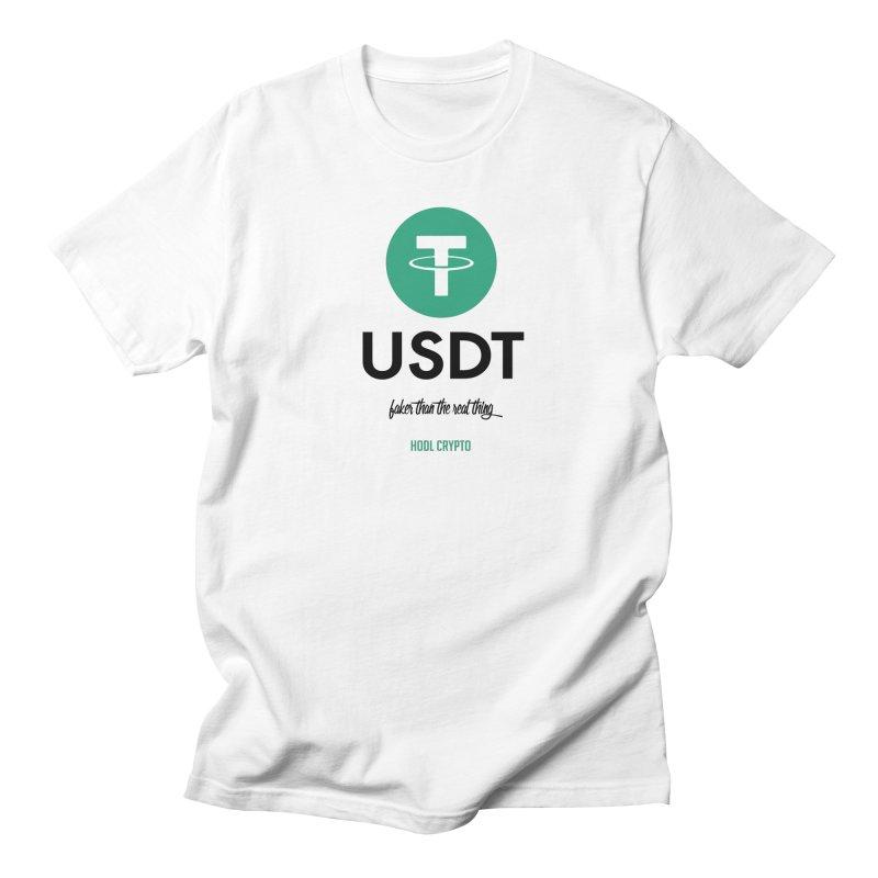 Tether in Men's Regular T-Shirt White by HODL's Artist Shop