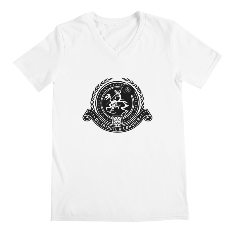 Distribute & Conquer Men's Regular V-Neck by HODL's Artist Shop