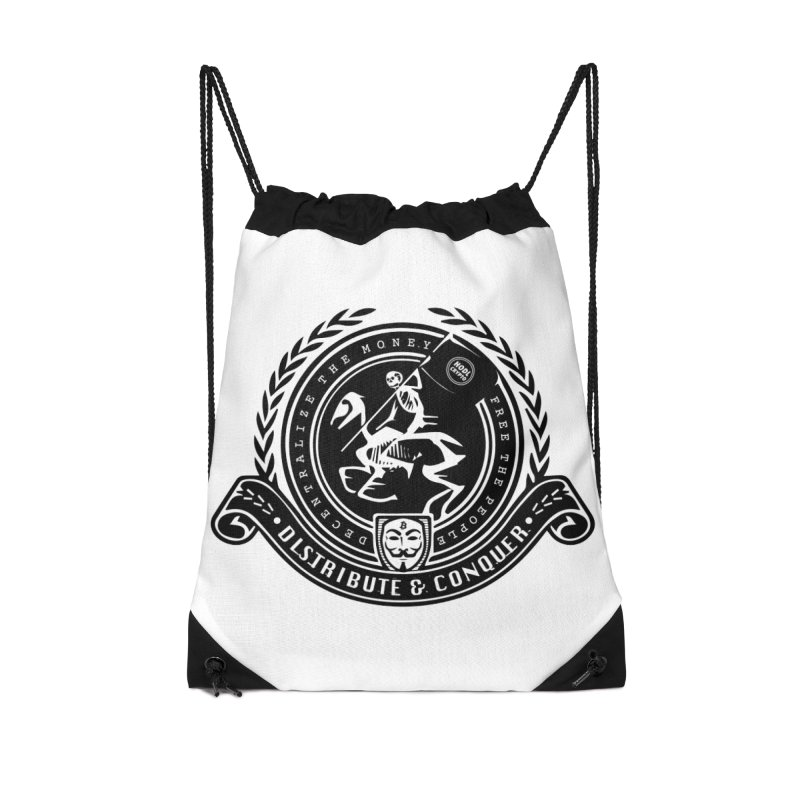 Distribute & Conquer Accessories Drawstring Bag Bag by HODL's Artist Shop