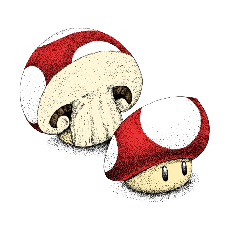 Sliced Mario Mushroom (Color Version) by Habby's Art Shop
