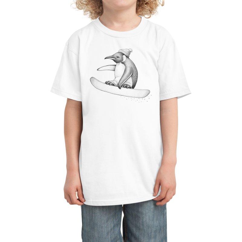 Flying Penguin Kids T-Shirt by Habby's Art Shop