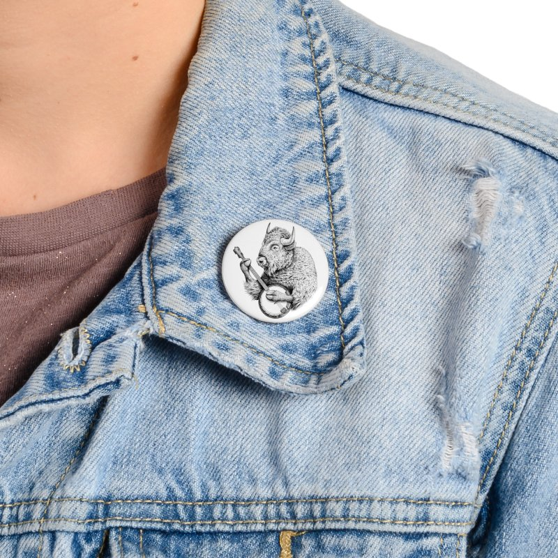 Banjo Bison Accessories Button by Habby Art