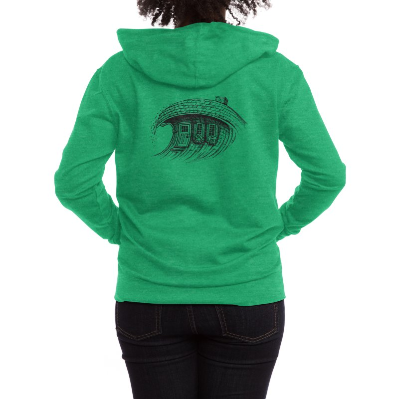 The Surf House Women's Zip-Up Hoody by Habby's Art Shop