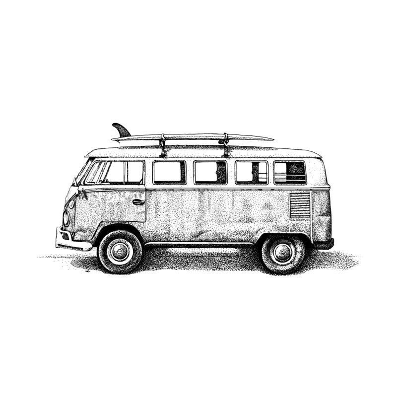 The Beach Van Home Stretched Canvas by Habby Art