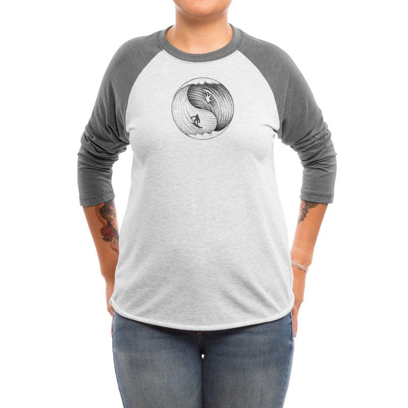 Yin Yang Surf Women's Longsleeve T-Shirt by Habby's Art Shop