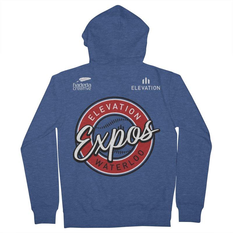 Expos Shirt with Elevation & Hadeda Creative Logos. Men's French Terry Zip-Up Hoody by Hadeda Creative's Artist Shop