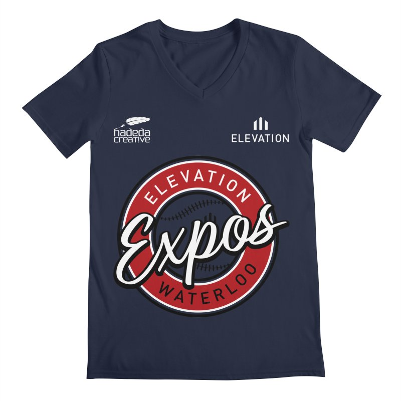 Expos Shirt with Elevation & Hadeda Creative Logos. Men's Regular V-Neck by Hadeda Creative's Artist Shop
