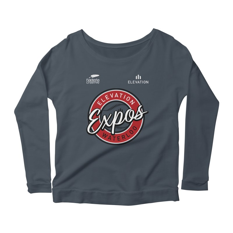 Expos Shirt with Elevation & Hadeda Creative Logos. Women's Scoop Neck Longsleeve T-Shirt by Hadeda Creative's Artist Shop