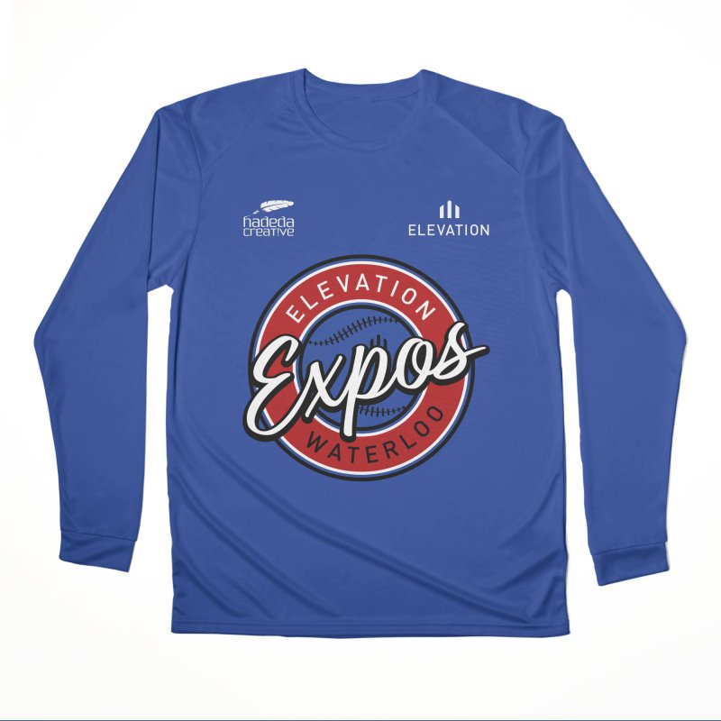Expos Shirt with Elevation & Hadeda Creative Logos. Men's Performance Longsleeve T-Shirt by Hadeda Creative's Artist Shop