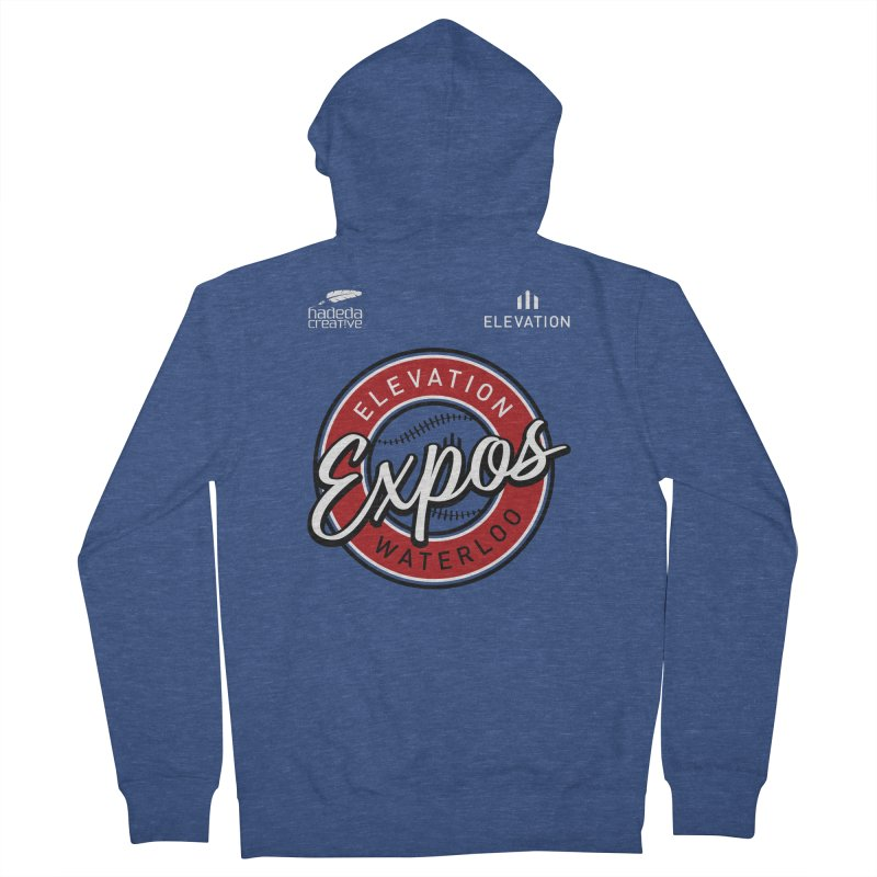 Expos Shirt with Elevation & Hadeda Creative Logos. Men's French Terry Zip-Up Hoody by Hadeda Creative's Artist Shop