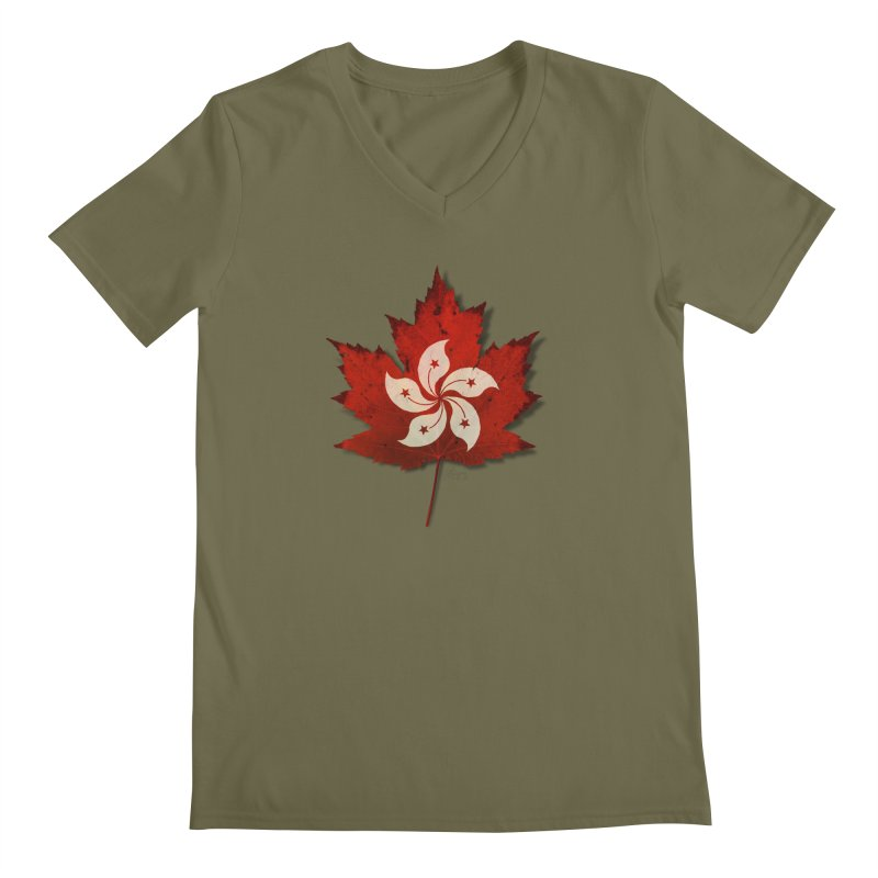 Hong Kong Maple Men's Regular V-Neck by Hadeda Creative's Artist Shop