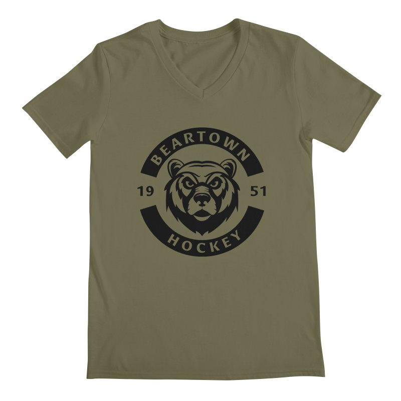 Beartown Hockey (One Colour Logo) Men's Regular V-Neck by Hadeda Creative's Artist Shop