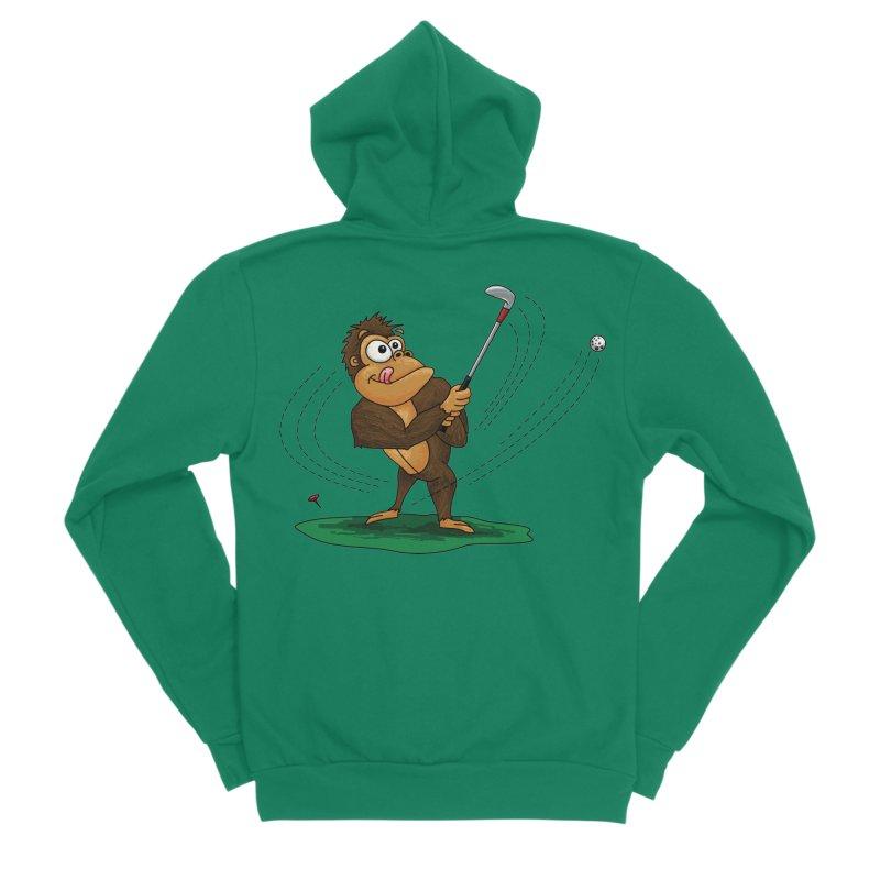 Gorilla Golfer Men's Sponge Fleece Zip-Up Hoody by Hadeda Creative's Artist Shop
