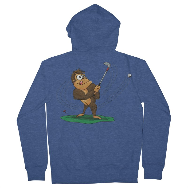 Gorilla Golfer Men's French Terry Zip-Up Hoody by Hadeda Creative's Artist Shop