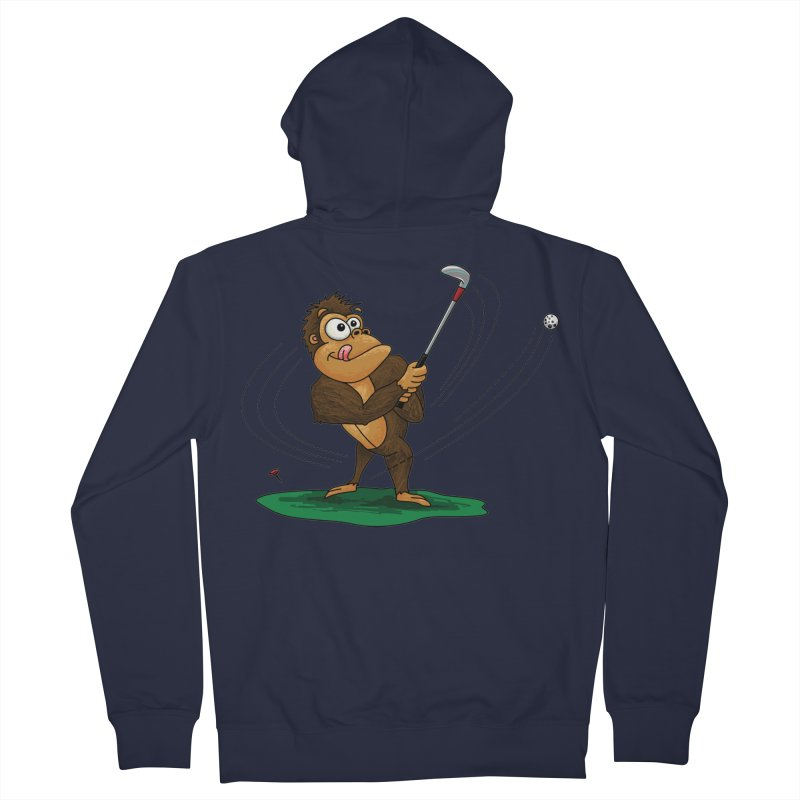 Gorilla Golfer Men's French Terry Zip-Up Hoody by Hadeda Creative's Artist Shop