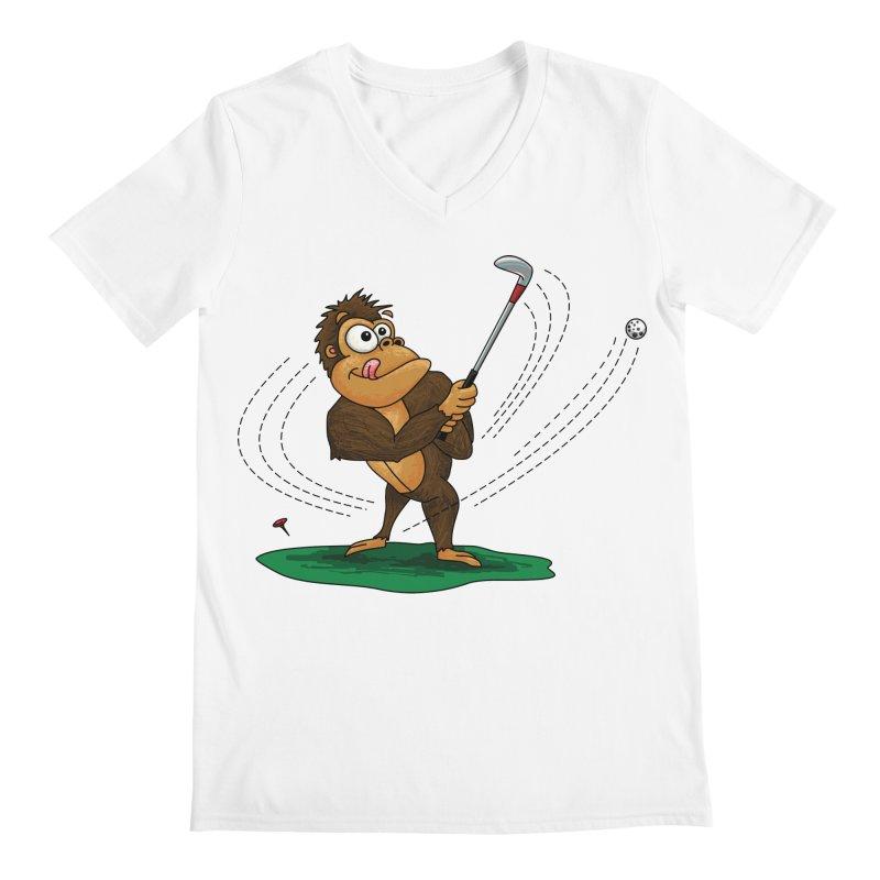 Gorilla Golfer Men's Regular V-Neck by Hadeda Creative's Artist Shop