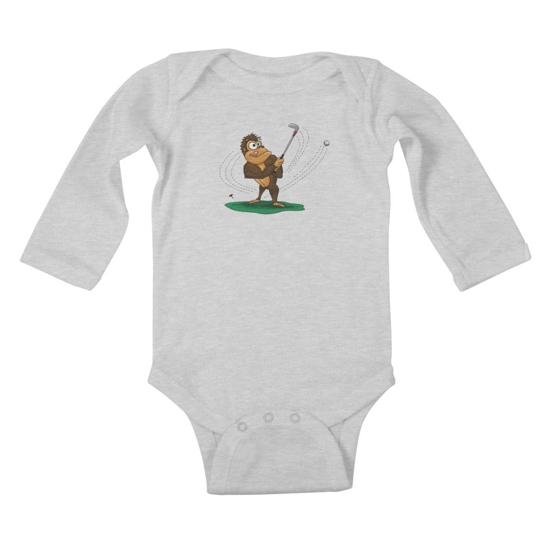 Gorilla Golfer Kids Baby Longsleeve Bodysuit by Hadeda Creative's Artist Shop
