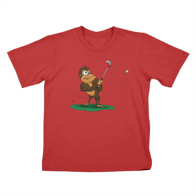 Gorilla Golfer Kids T-Shirt by Hadeda Creative's Artist Shop