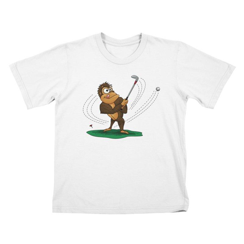 Gorilla Golfer Kids T-Shirt by Hadeda Creative's Artist Shop