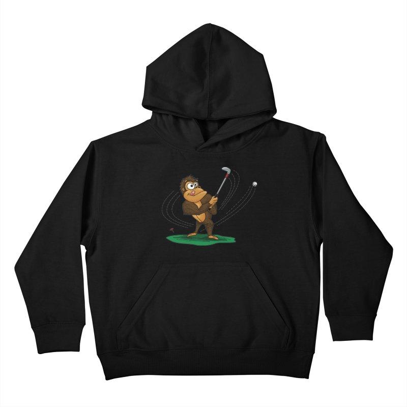 Gorilla Golfer Kids Pullover Hoody by Hadeda Creative's Artist Shop