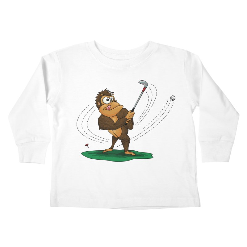 Gorilla Golfer Kids Toddler Longsleeve T-Shirt by Hadeda Creative's Artist Shop