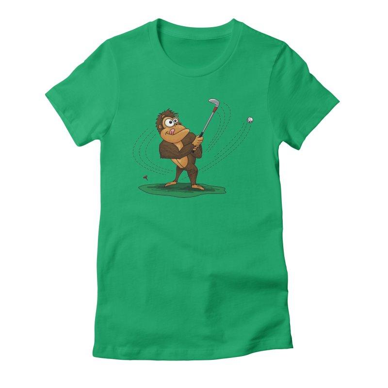 Gorilla Golfer Women's Fitted T-Shirt by Hadeda Creative's Artist Shop