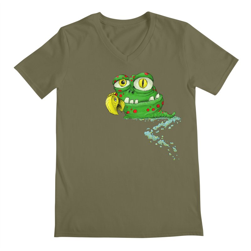 (Slimey) Steve Men's Regular V-Neck by Hadeda Creative's Artist Shop