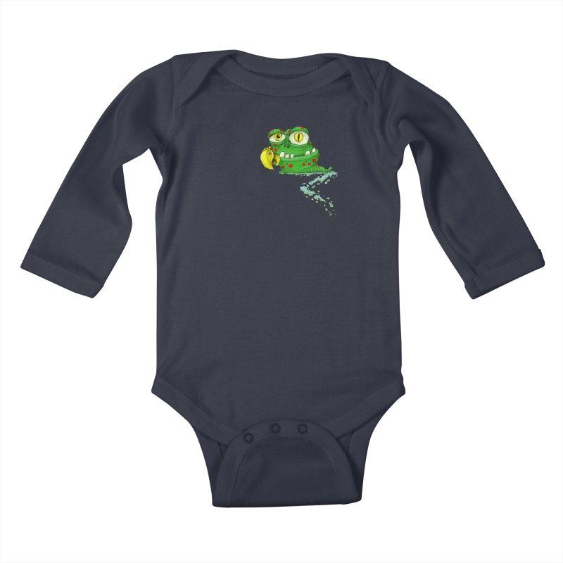 (Slimey) Steve Kids Baby Longsleeve Bodysuit by Hadeda Creative's Artist Shop