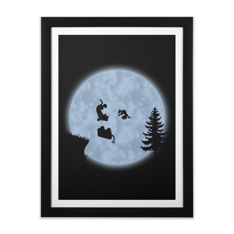 Calvin & Hobbes / E.T. Crossover Home Framed Fine Art Print by Hadeda Creative's Artist Shop