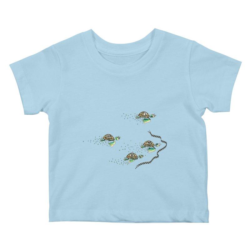 Turtle Rally Kids Baby T-Shirt by Hadeda Creative's Artist Shop