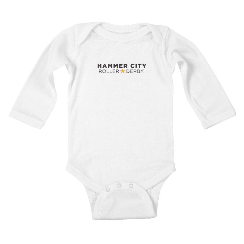 HCRD Banner Kids Baby Longsleeve Bodysuit by Hammer City Roller Derby